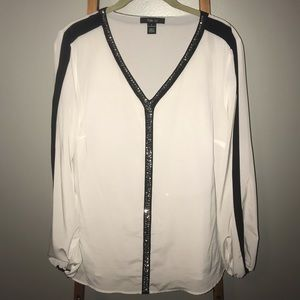 Style & Co White Blouse with Beaded Trim